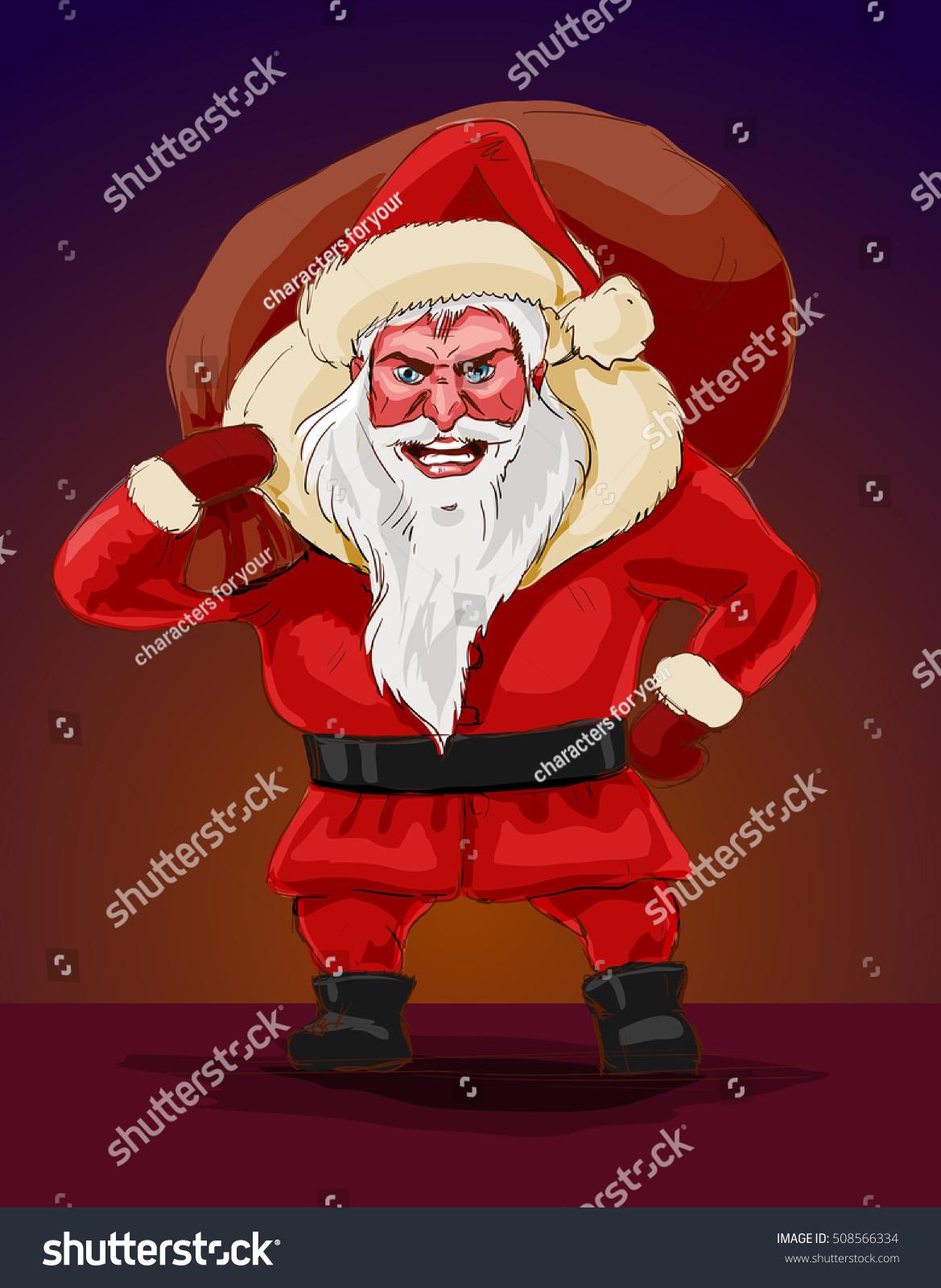 Evil Christmas Characters.Evil Santa Claus Vector Illustration Terrible Stock Vector