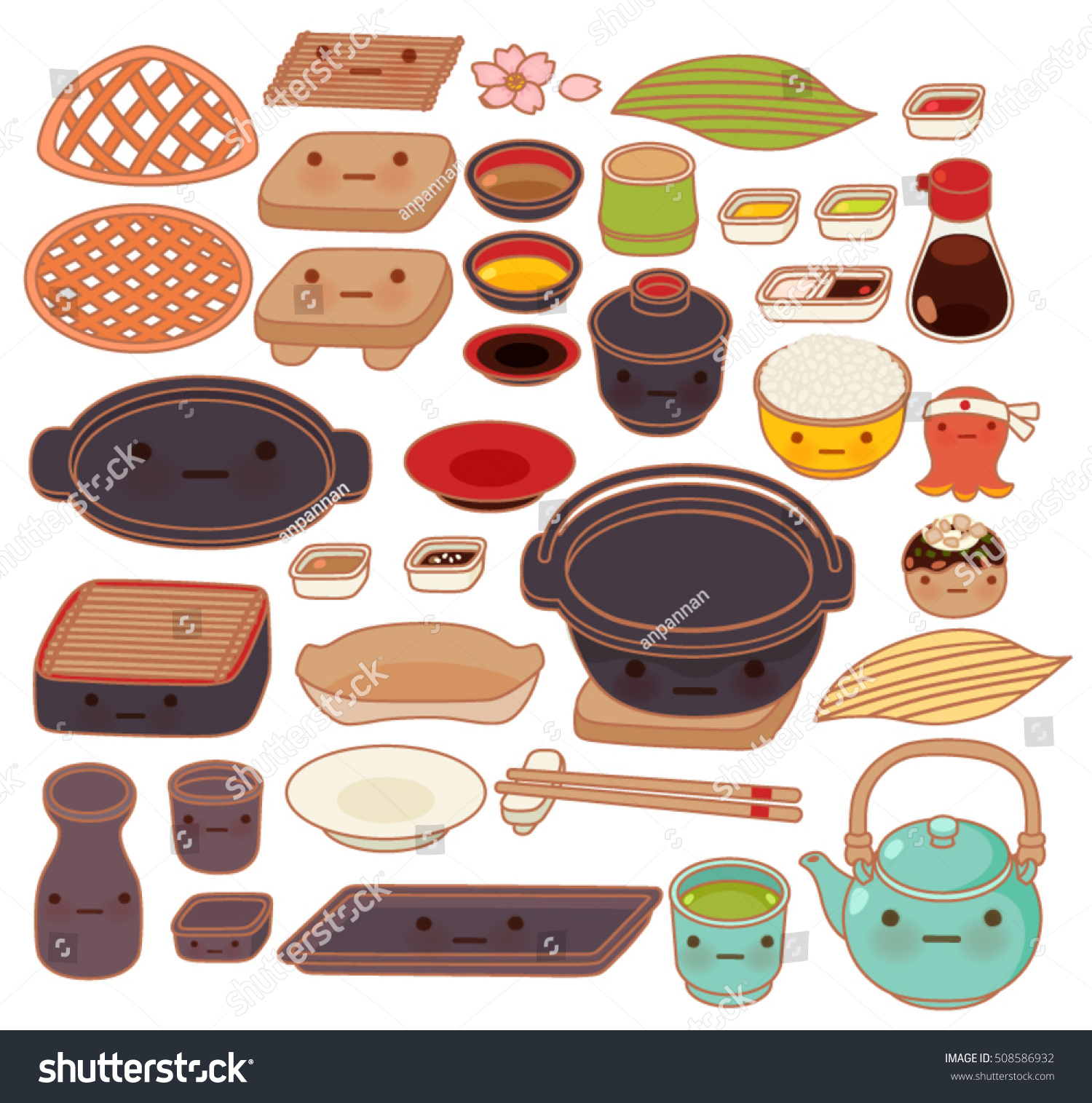 Collection Set Lovely Japanese Kitchen Ware Stock Vector Royalty
