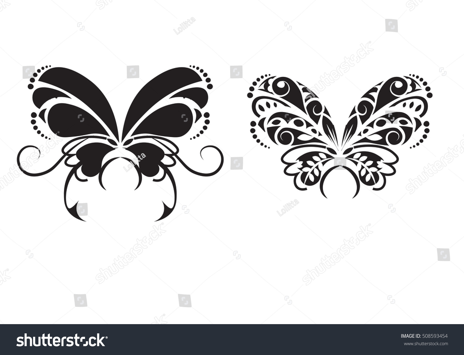two black white butterfly style tattoo stock vector 508593454