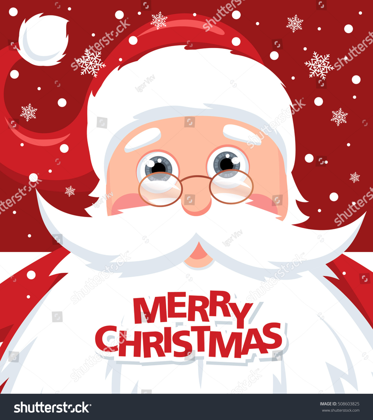 Santa Claus Merry Christmas Lettering Holiday Stock Vector (Royalty ...