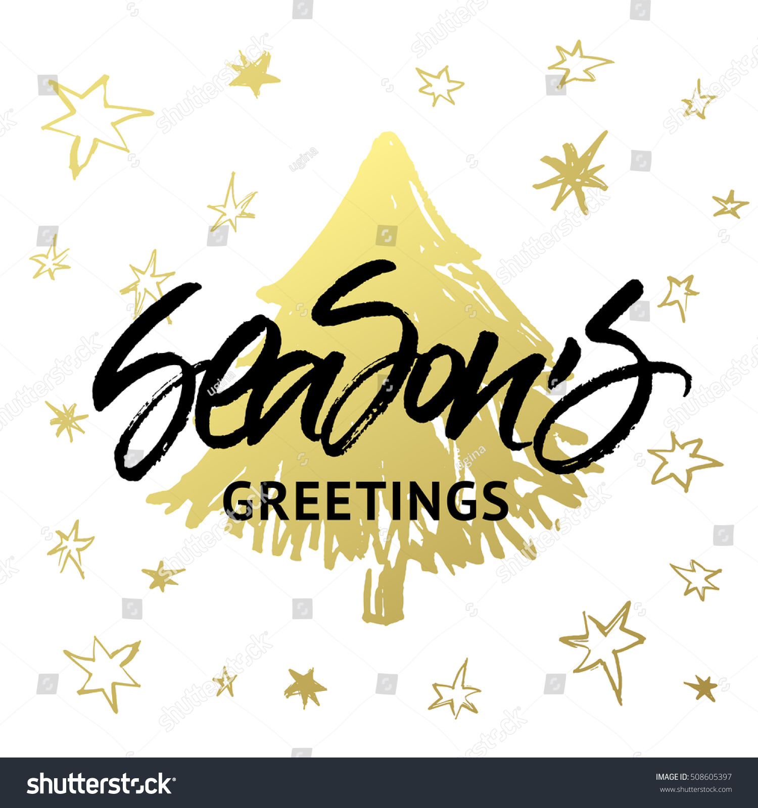 Seasons greetings christmas new year greeting stock vector 508605397 seasons greetings christmas and new year greeting card handwritten brush calligraphy with golden hand painted kristyandbryce Images