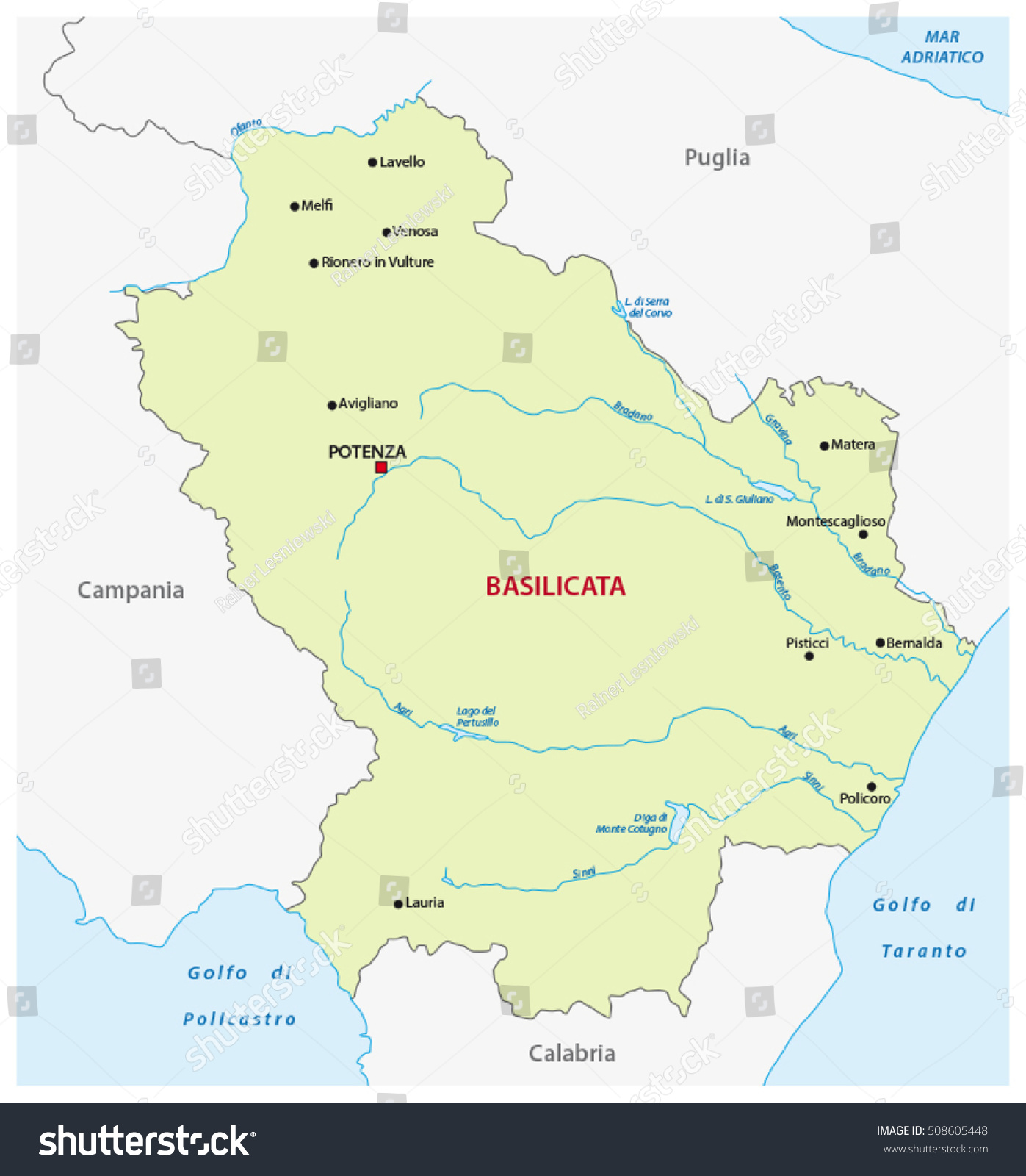 Vector Map Italian Region Basilicata Stock Vector 2018 508605448