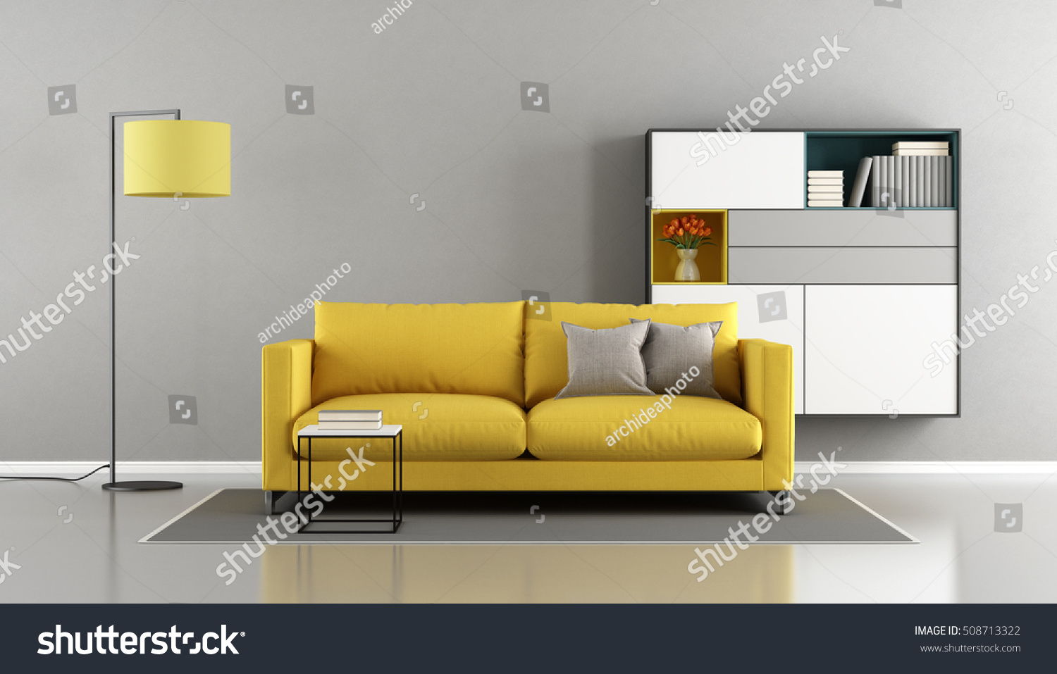 Modern Living Room With Yellow Couch And Sideboard On Wall   3d Rendering