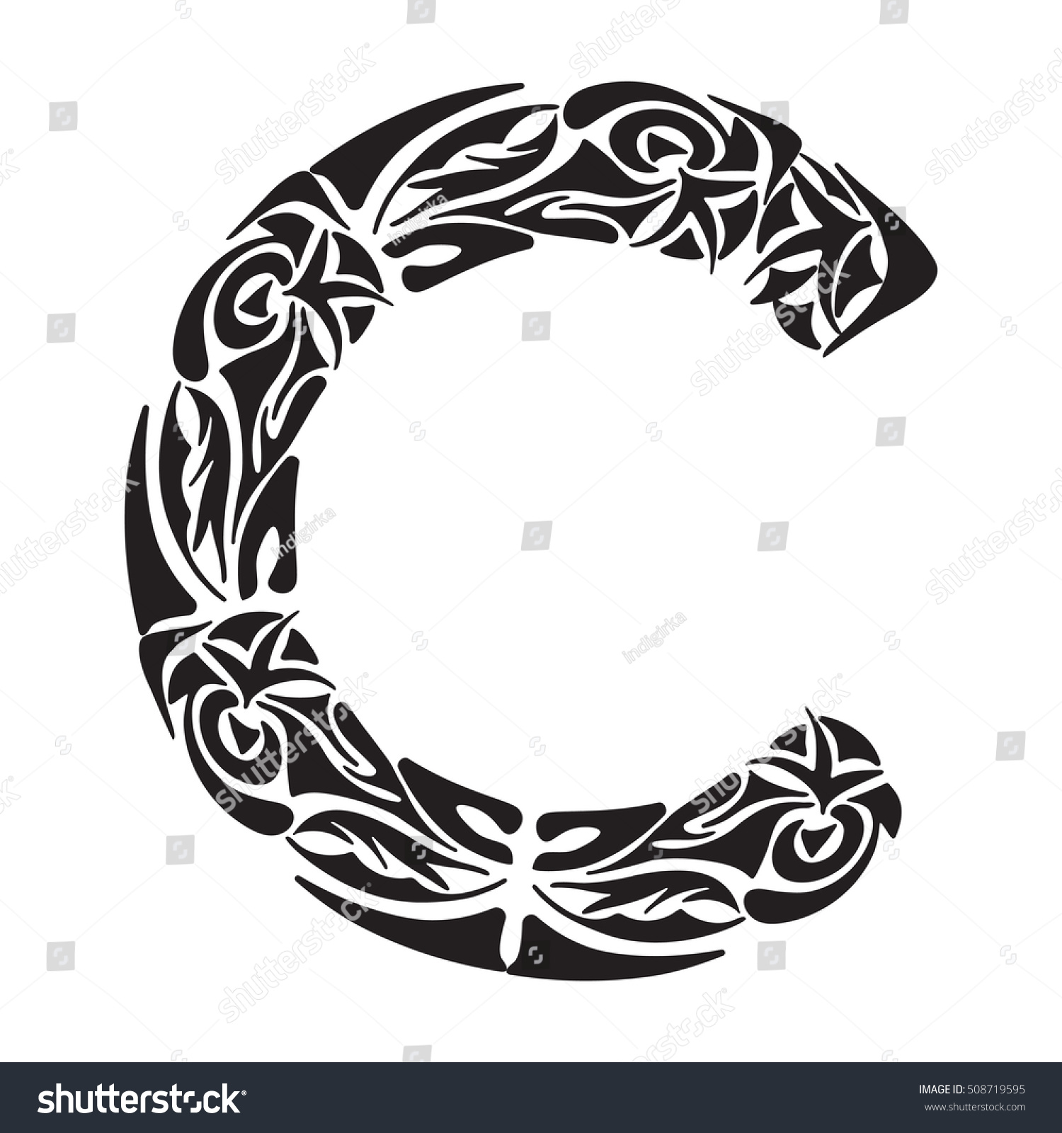 Royalty-free Polynesian tattoo initials. Boho… #508719595 Stock ...