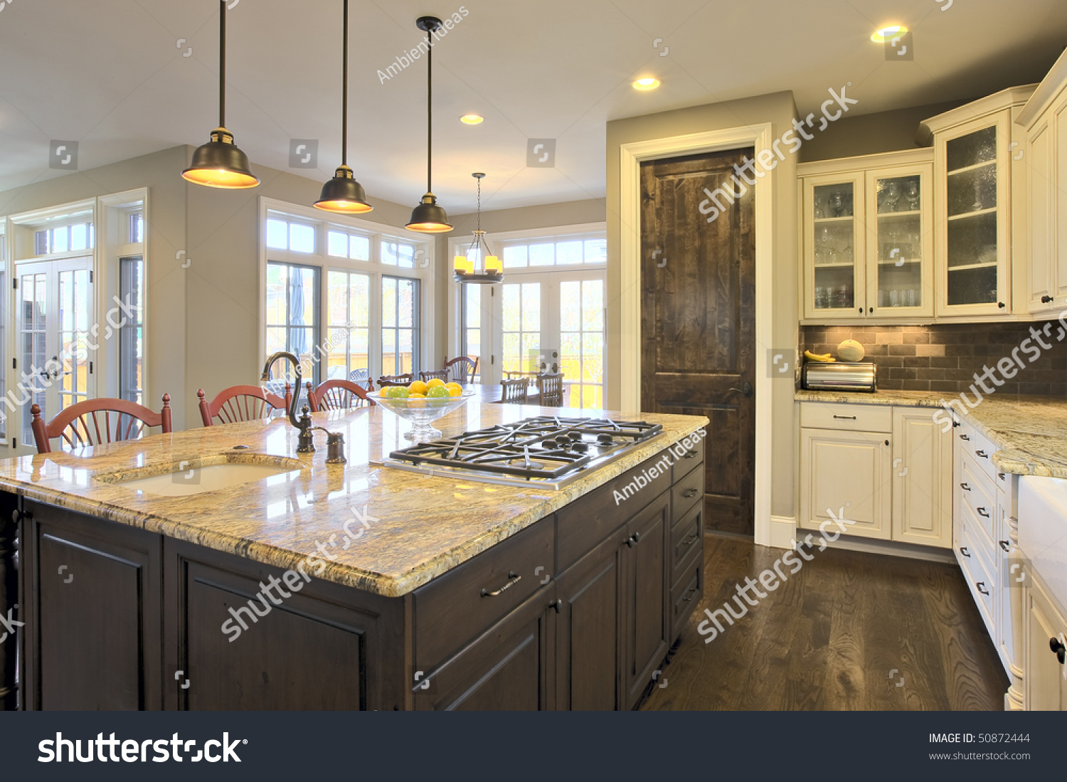Luxury Kitchen Brightly Lit Center Cooking Stock Photo