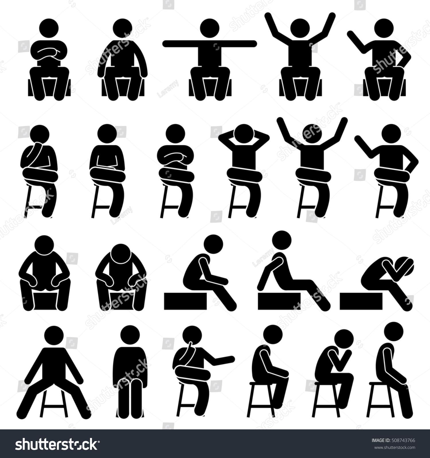 sitting on chair poses postures human stock illustration. Black Bedroom Furniture Sets. Home Design Ideas