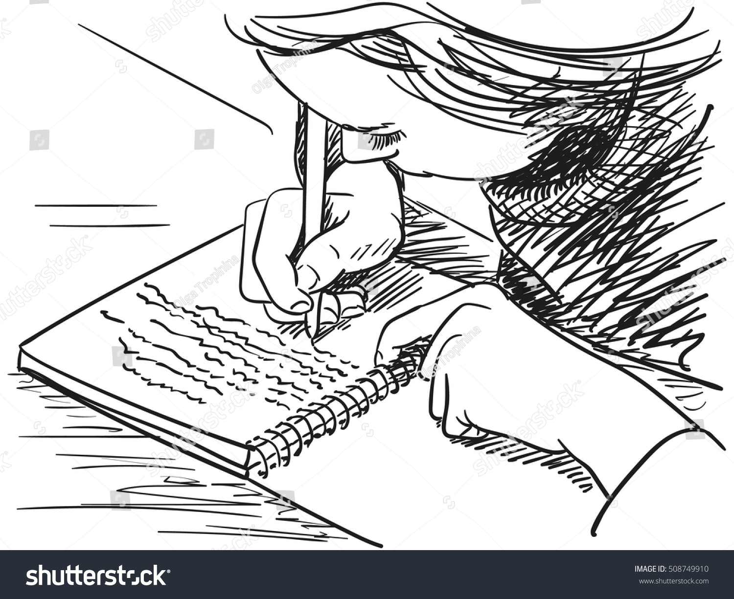 Notebook And Pen Sketch Stock Vector Art More Images Of: Sketch Girl Writing Notebook Hand Drawn Stock Vector