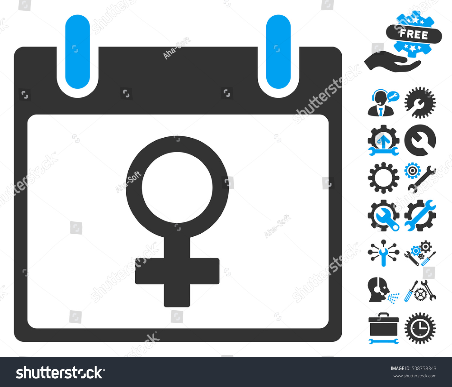 Venus Female Symbol Calendar Day Pictograph Stock Illustration
