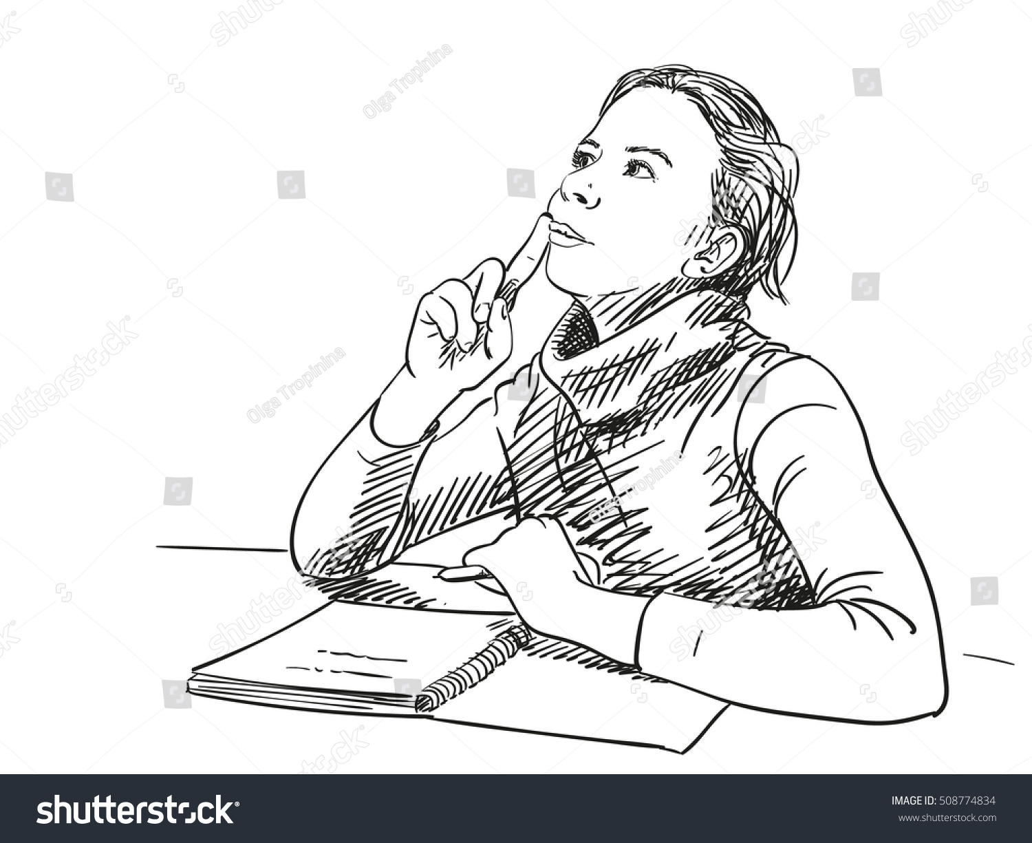 Notebook And Pen Sketch Stock Vector Art More Images Of: Sketch Girl Thinking Notebook On Table Stock Vector