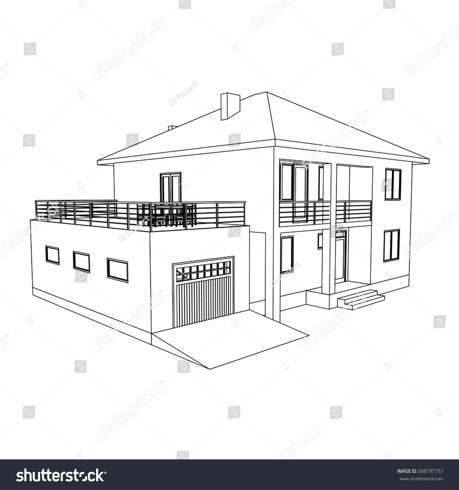 Drawing of the suburban house outlines cottage on white background