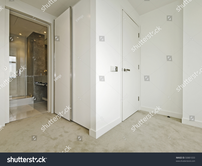 Ensuite Bathroom Walk In Wardrobe modern bedroom walkin wardrobe ensuite bathroom stock photo
