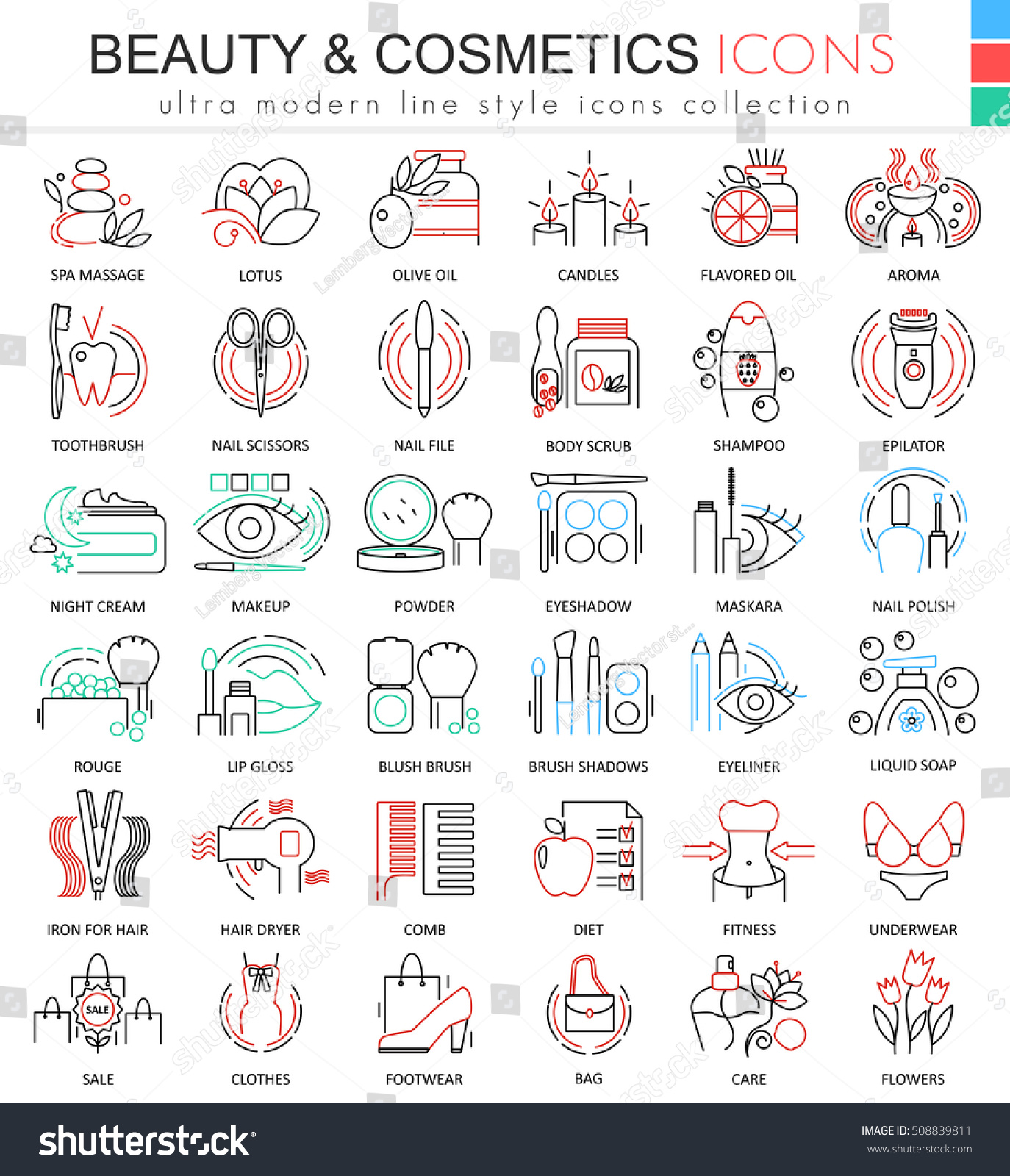 Modern colors web design - Modern Colors Web Design Vector Beauty And Cosmetics Ultra Modern Color Outline Line Icons For