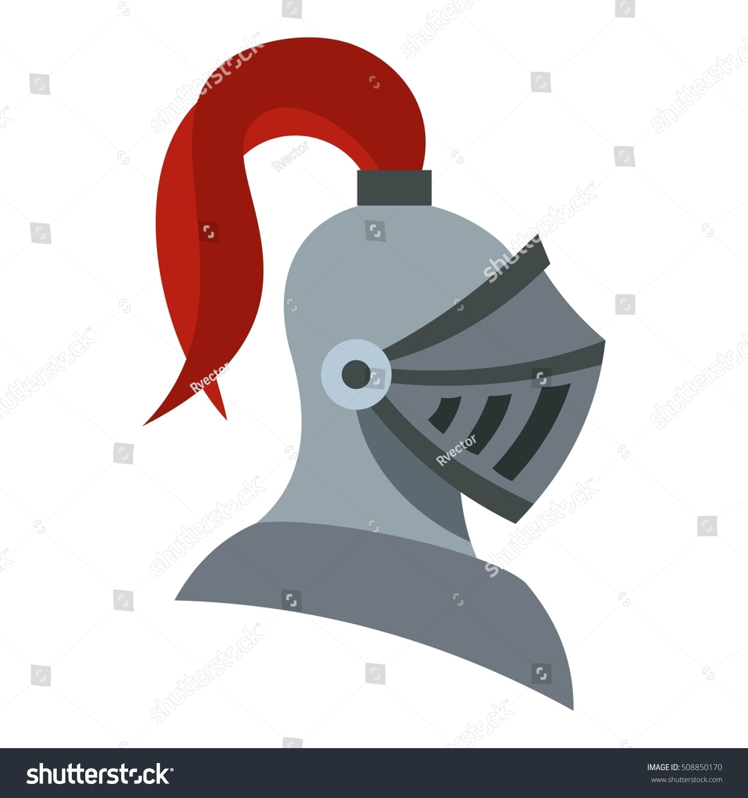 Royalty-free Medieval knight helmet icon. Flat… #508850170 Stock ...