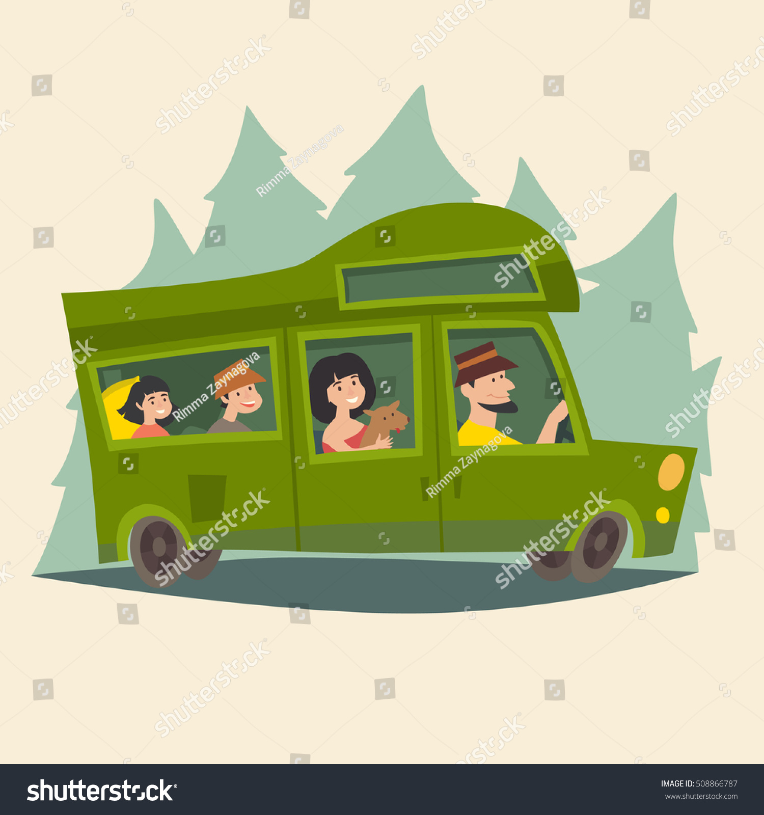 trailer traveling happy family camping trailer stock vector