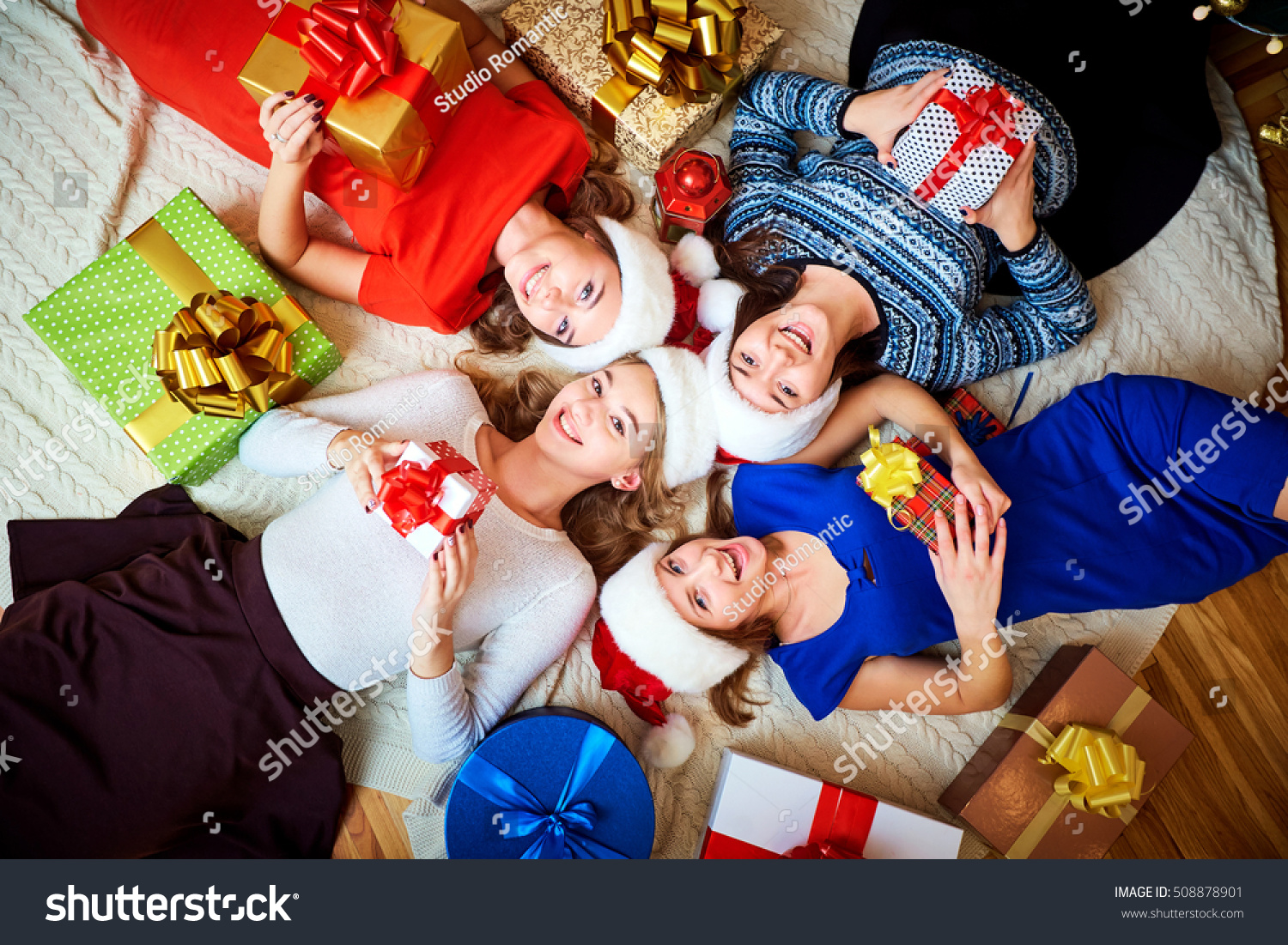 Friends Christmas Gifts On Floor Top Stock Photo (Edit Now ...