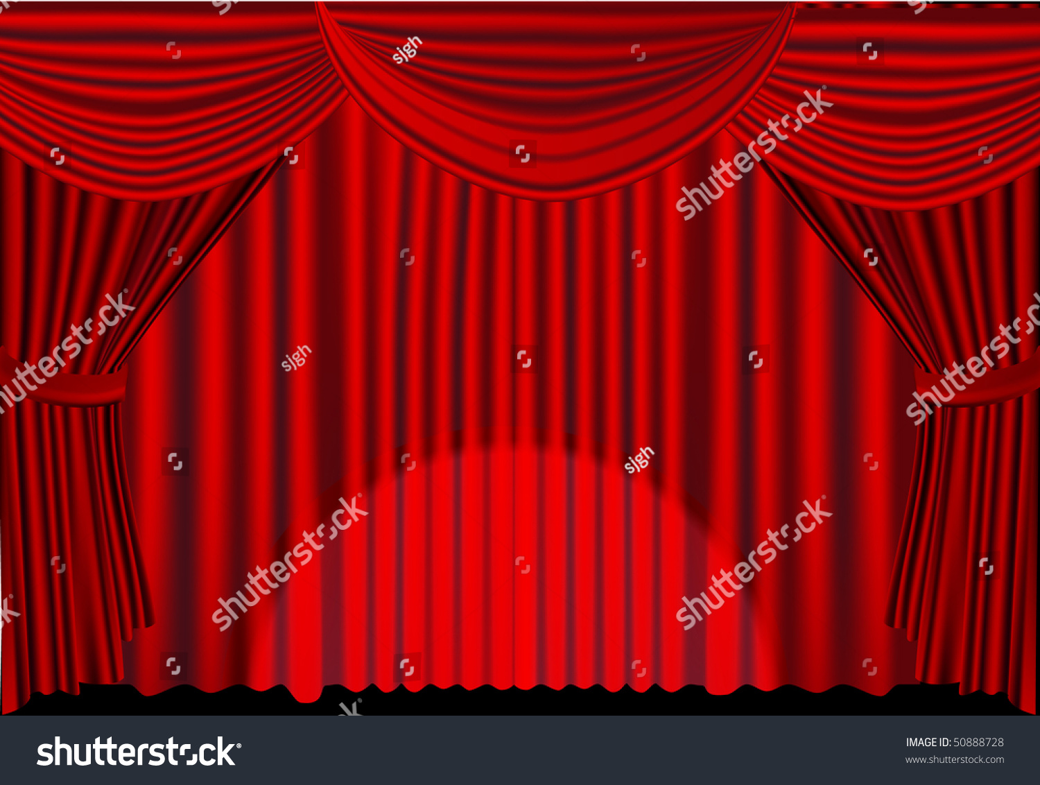 Stage curtains spotlight - Red Stage Curtains With Spotlight