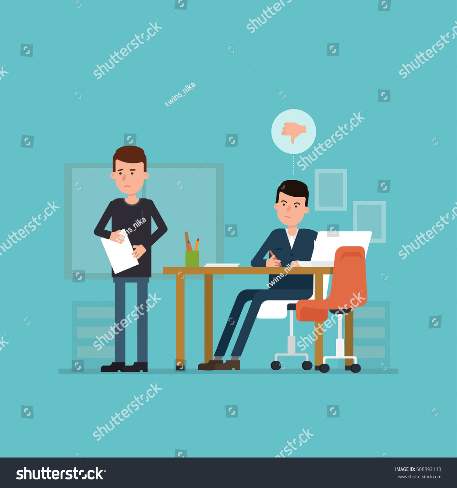flat concept unsuccessful interview vector illustration stock flat concept of unsuccessful interview vector illustration jobseeker and employer bad impression