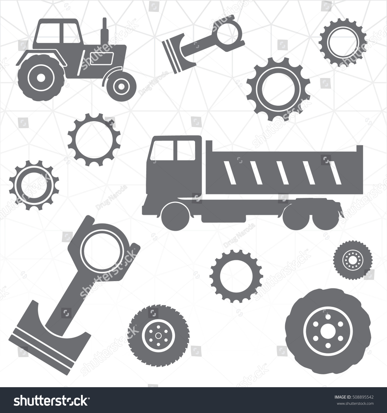 Tractor Parts Icon : Automobile tractor farming machinery spare parts stock