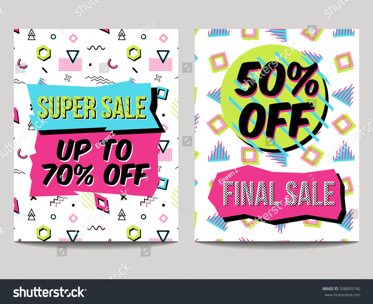 Vector set abstract sale posters retro stock vector for Abstract posters for sale