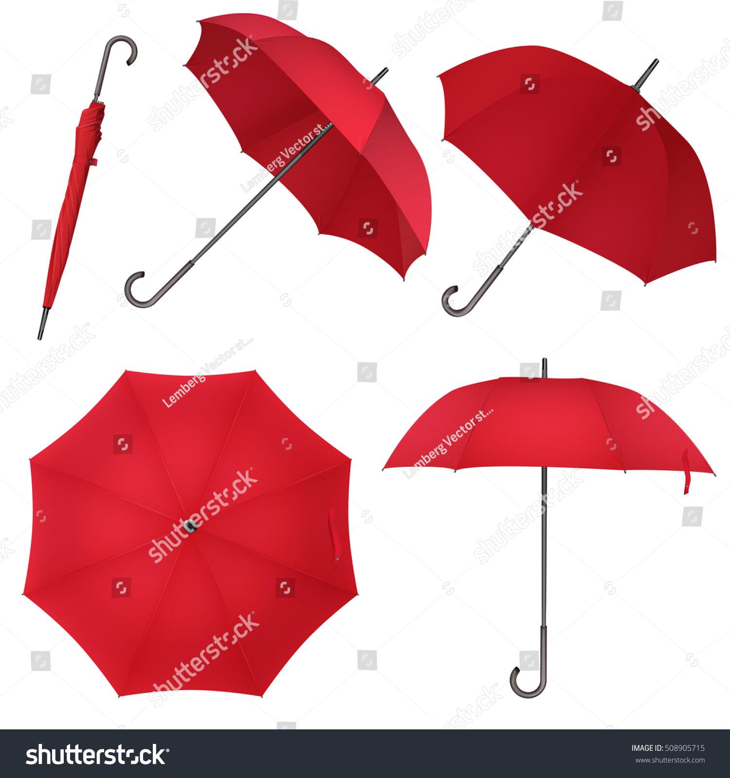 ab01bfb9f Red blank classic round rain Umbrella. Photo Realistic Umbrella vector  illustration