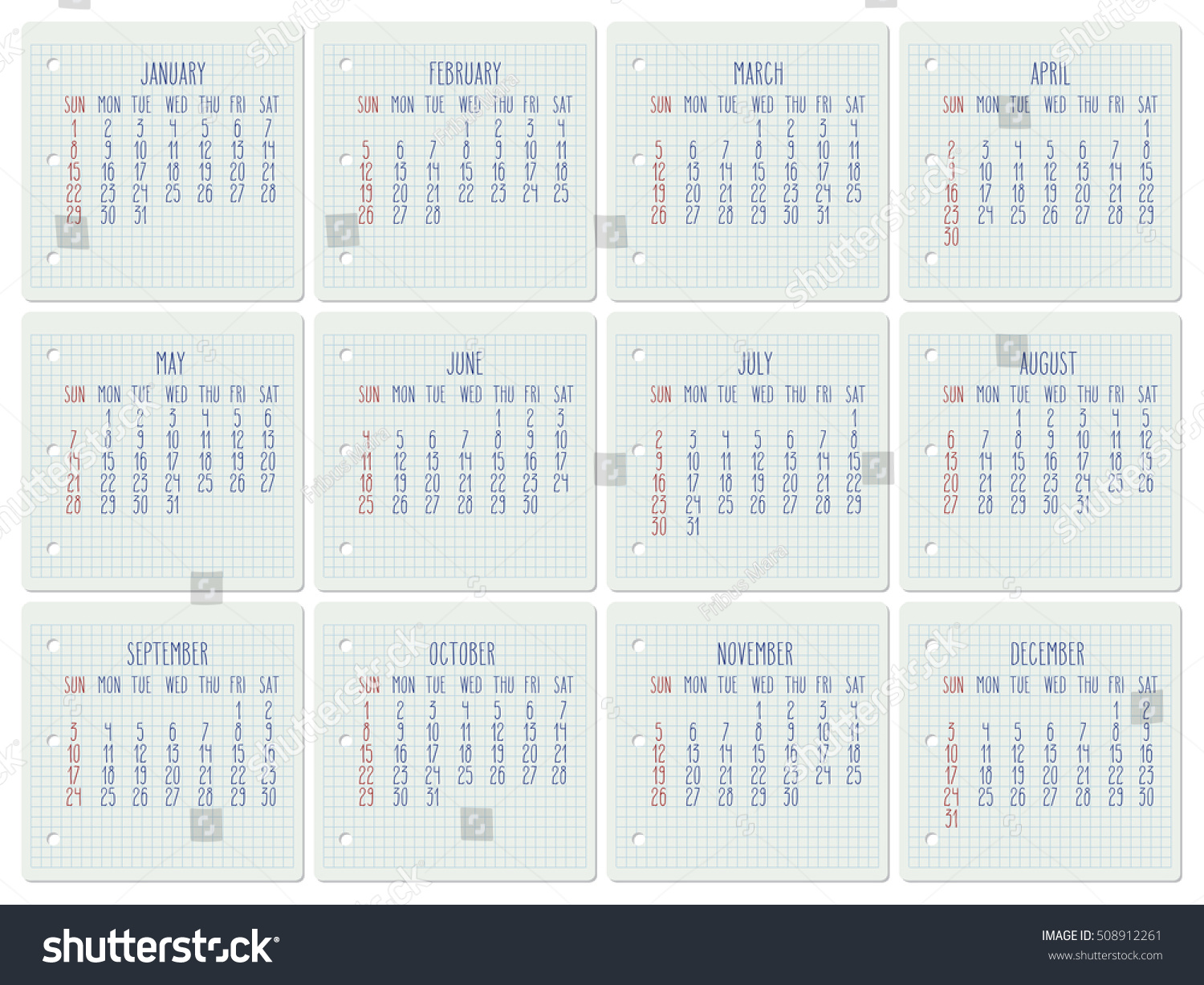 Monthly Calendar Notebook : Year vector monthly calendar on stock