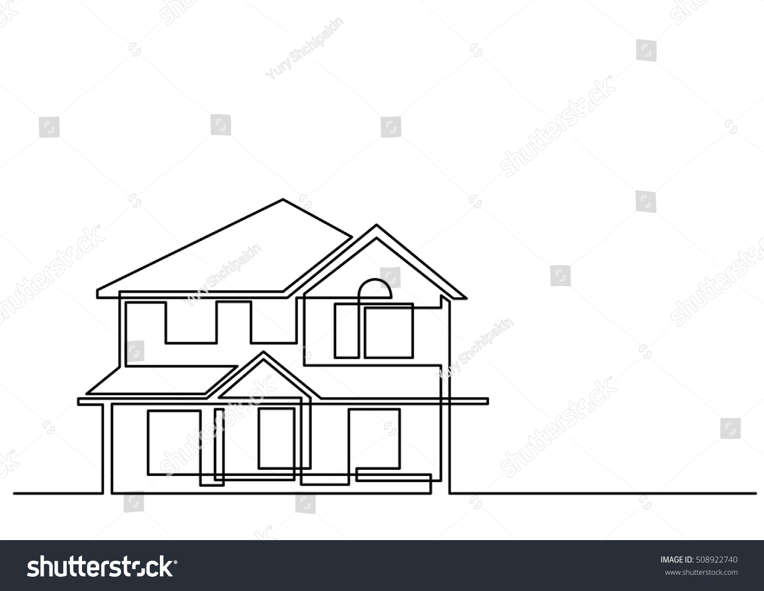 Line Art Of House : Continuous line drawing house stock vector