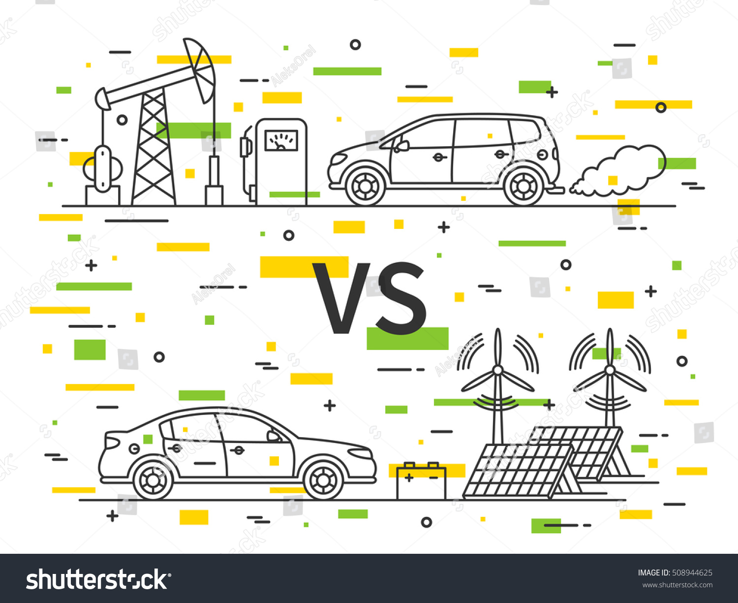 Fuel Gas Car Vs Electric Car Stock Vector Shutterstock