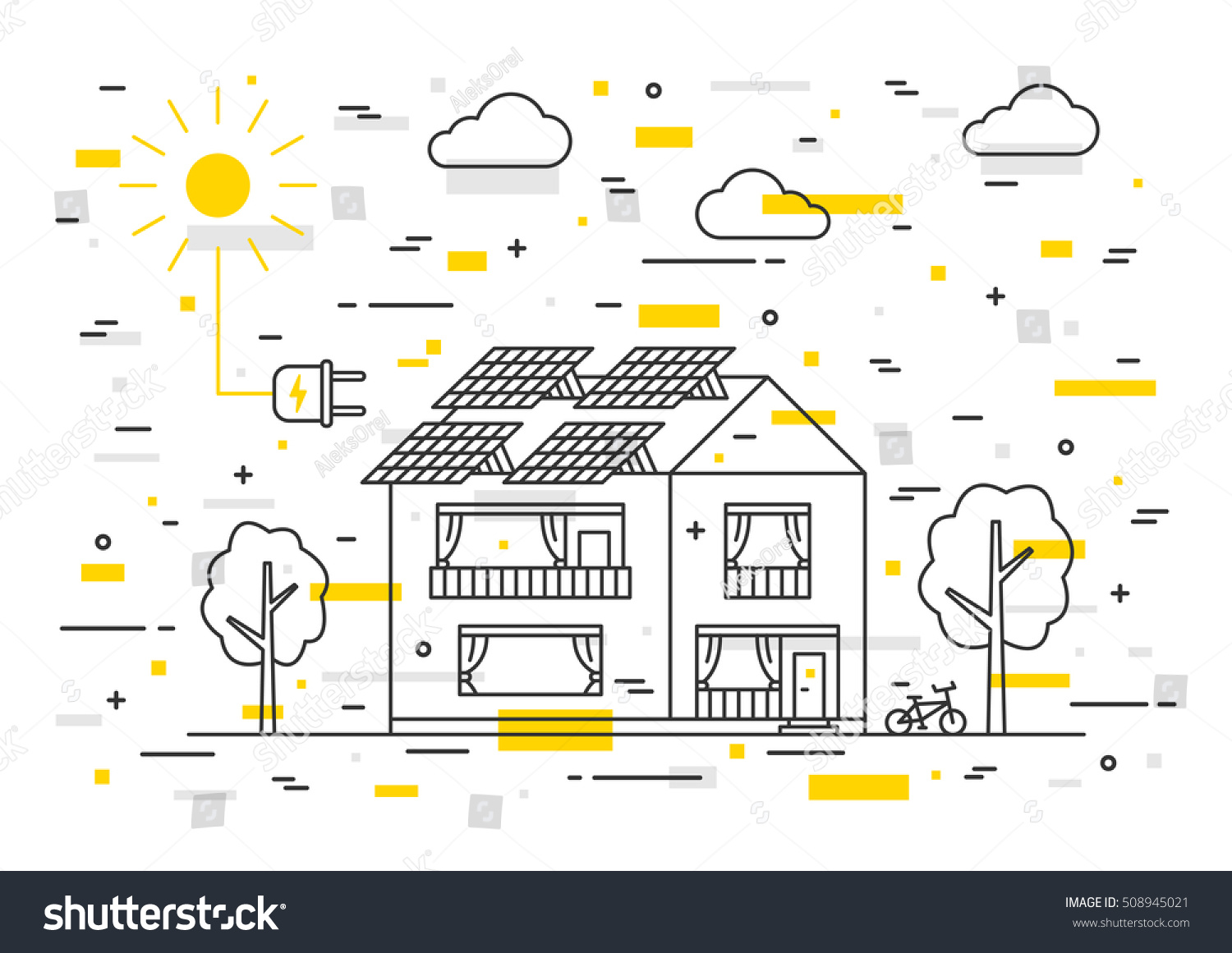 Sun Electricity House Vector Concept Decorative Stock Vector (2018 ...