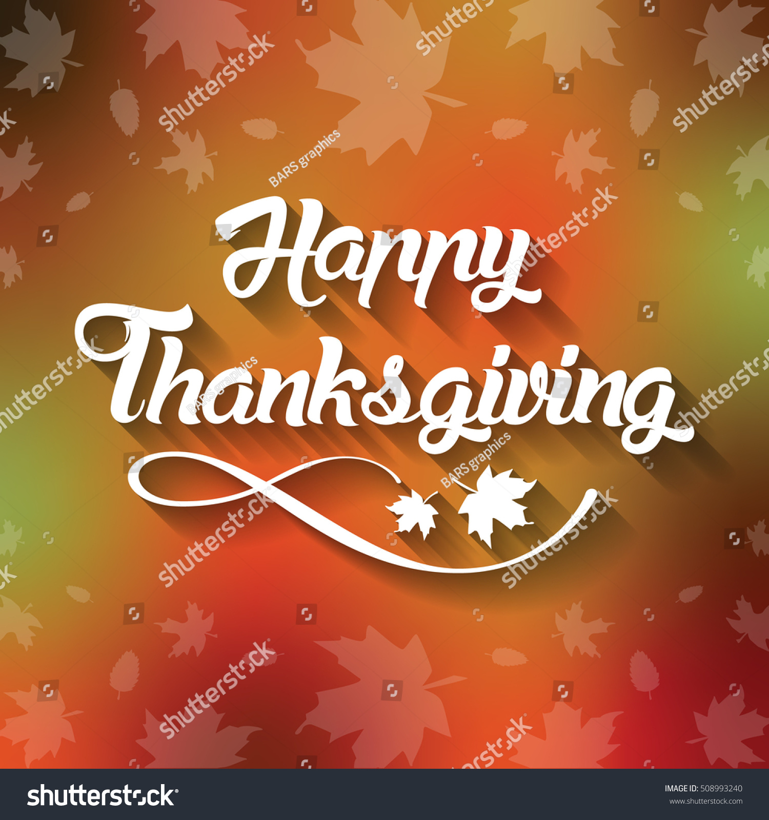 Thanksgiving Greeting Card Happy Thanksgiving Lettering Stock