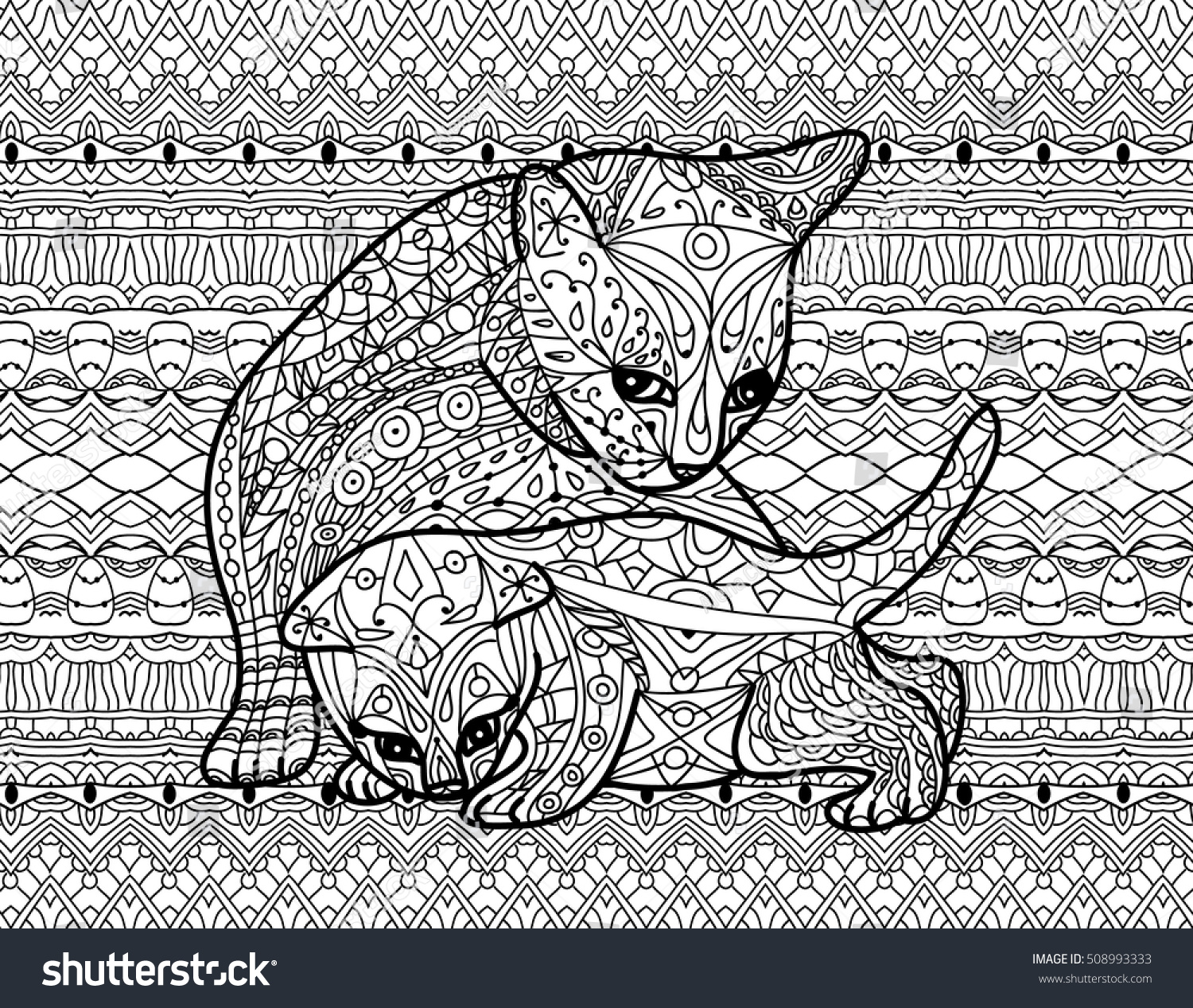Zendoodle Coloring Book For Adults Mother Cat With Kitten