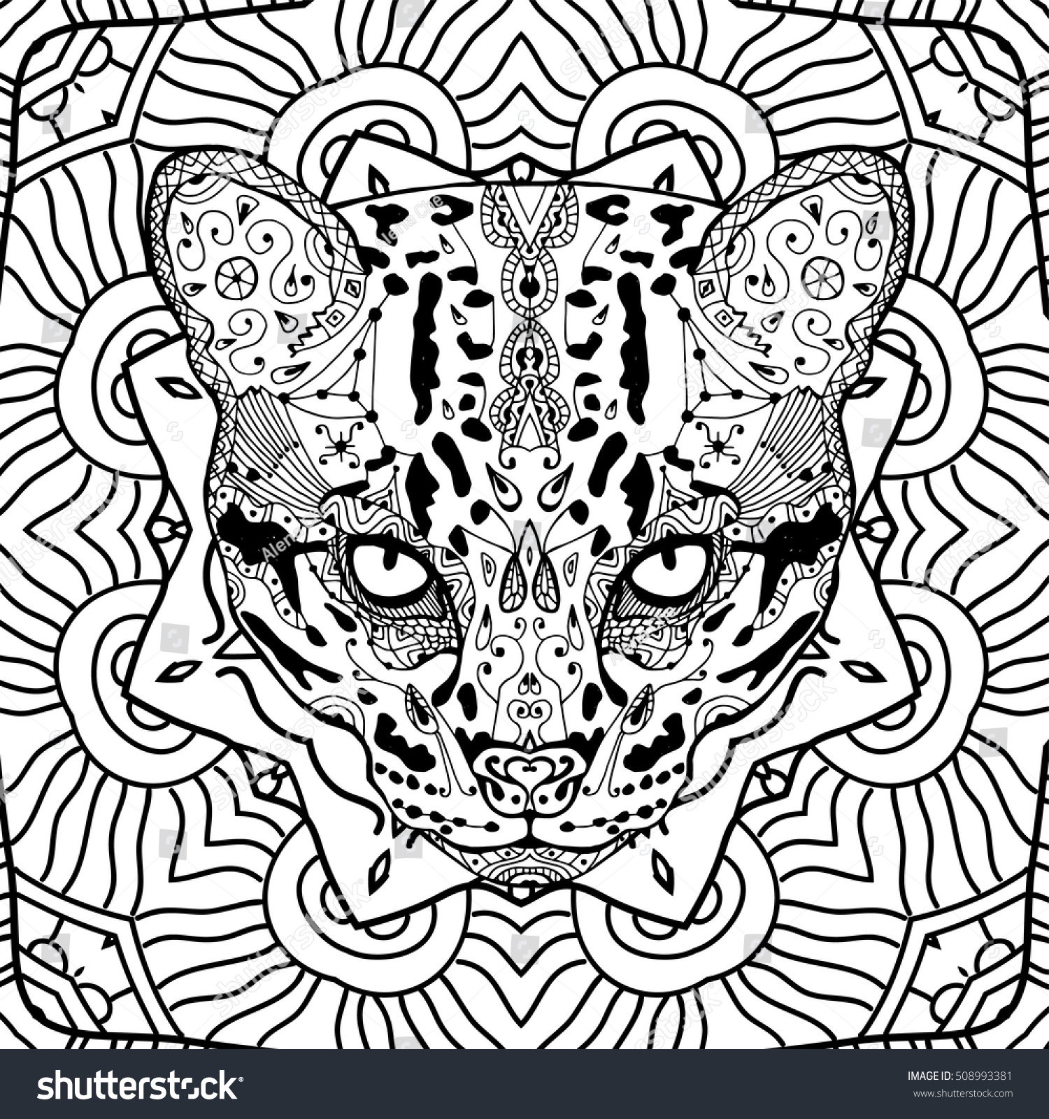 wild cat on background circular tribal stock vector 508993381