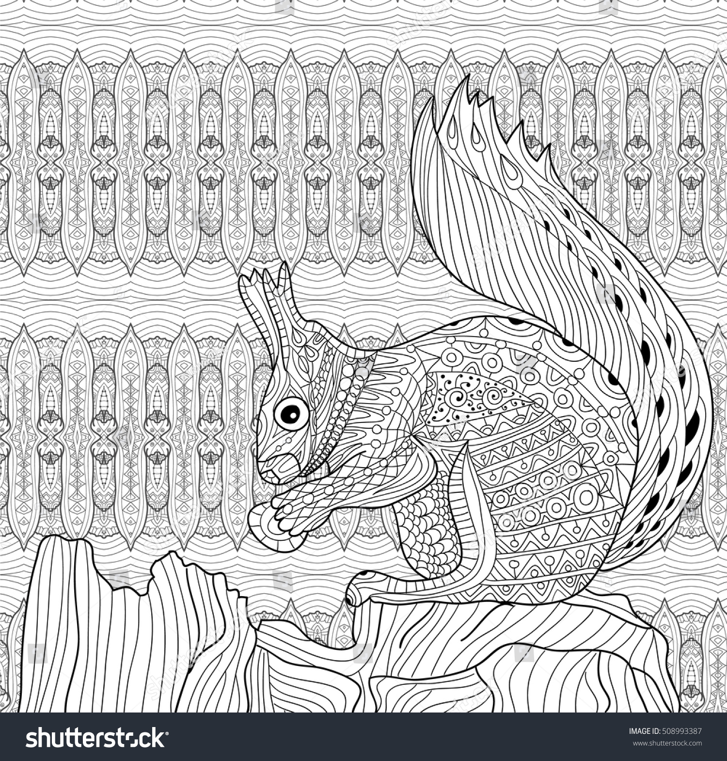 Coloring Book For Adults. Squirrel Sits On A Tree Stump ...