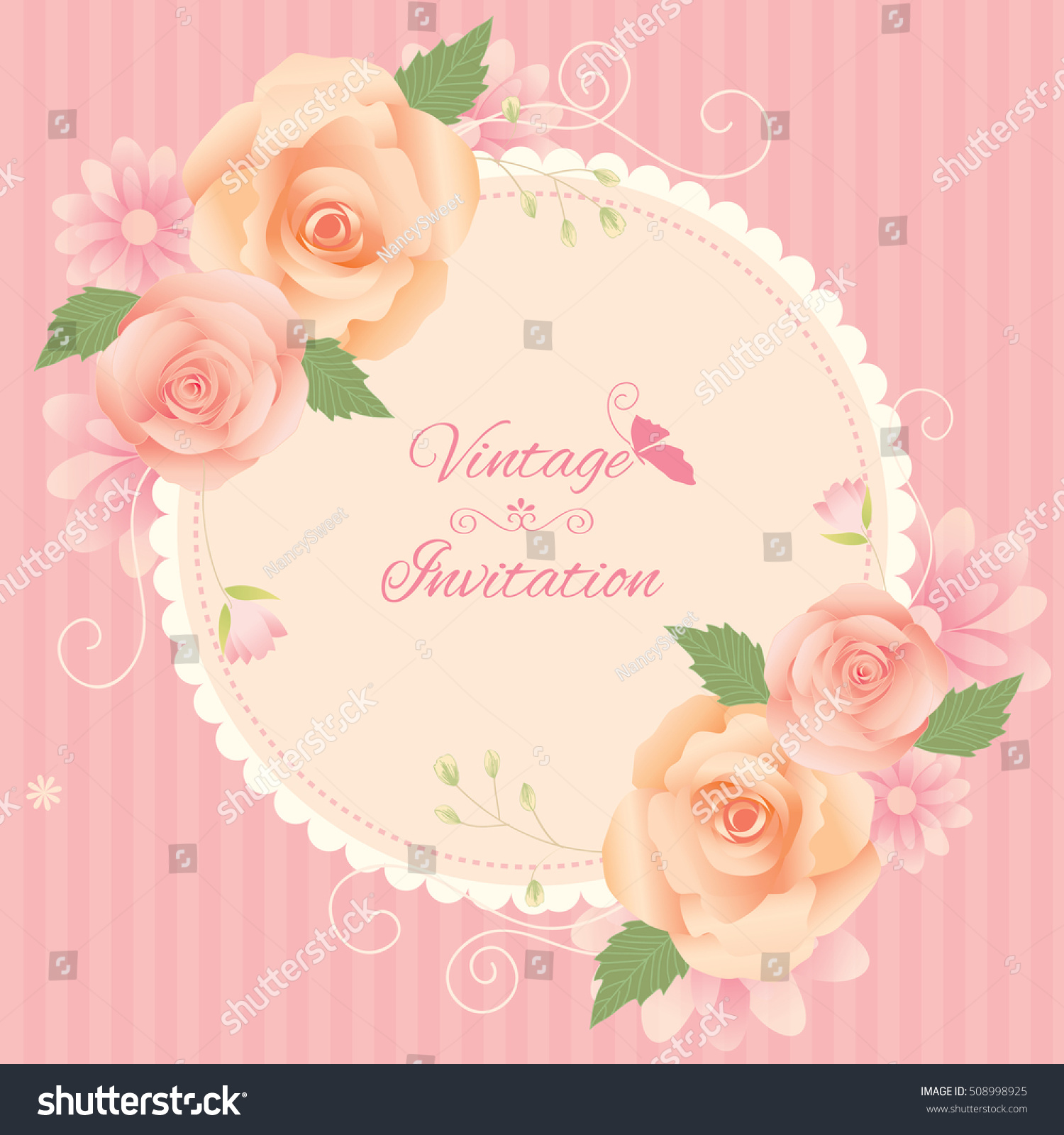Vector round frame with pink flowers on white background in pastel - Flowers And Floral Wreath Of Vintage Style Illustration Vector Pink Pastel Colors Background