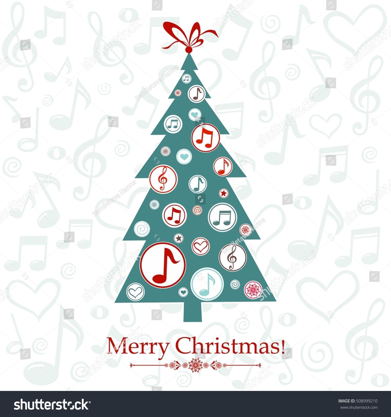 Christmas greeting card christmas tree musical stock vector royalty christmas greeting card christmas tree with musical notes vector illustration m4hsunfo