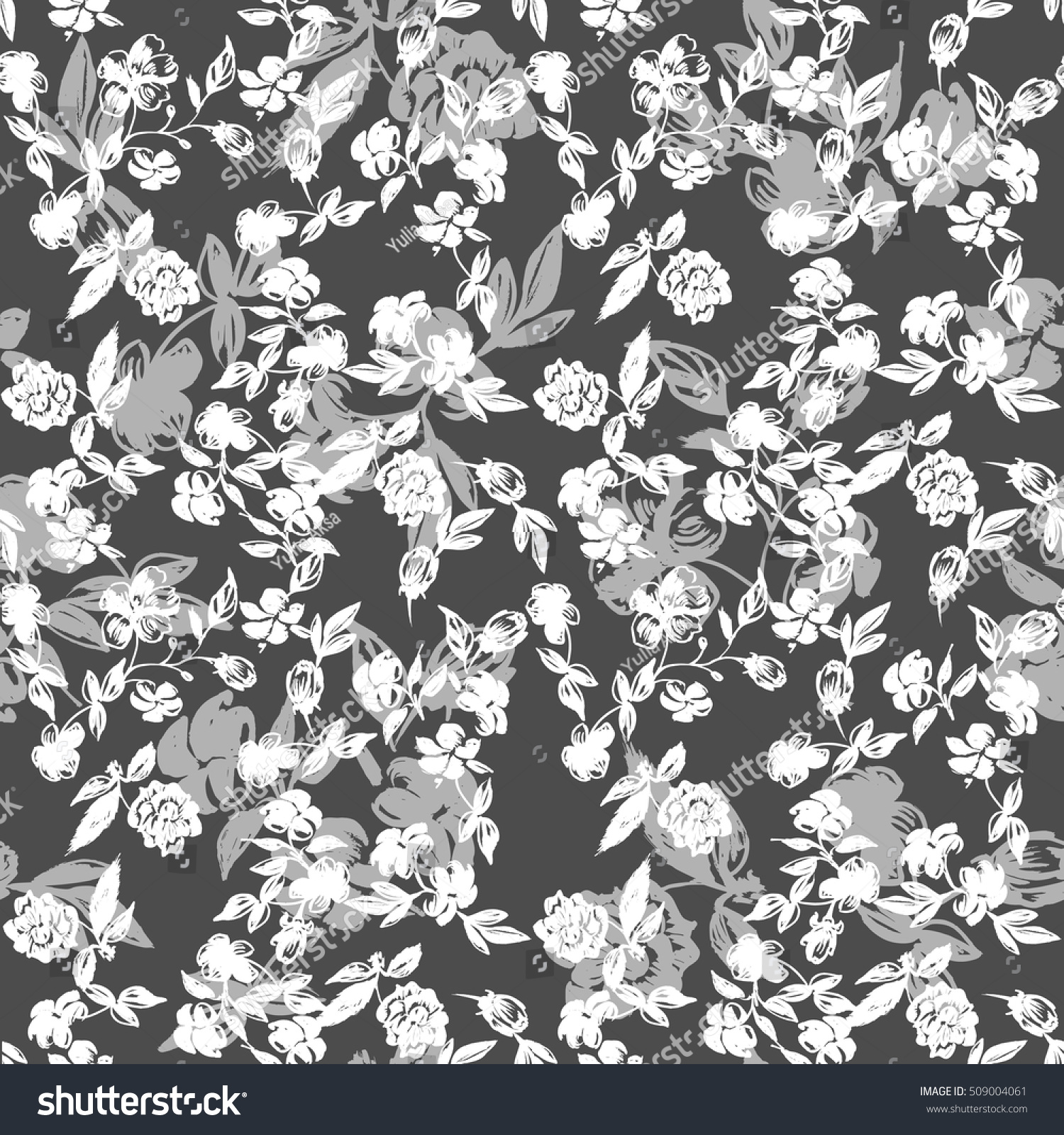 Small Floral Design Black White Ditsy Stock Photo Photo Vector