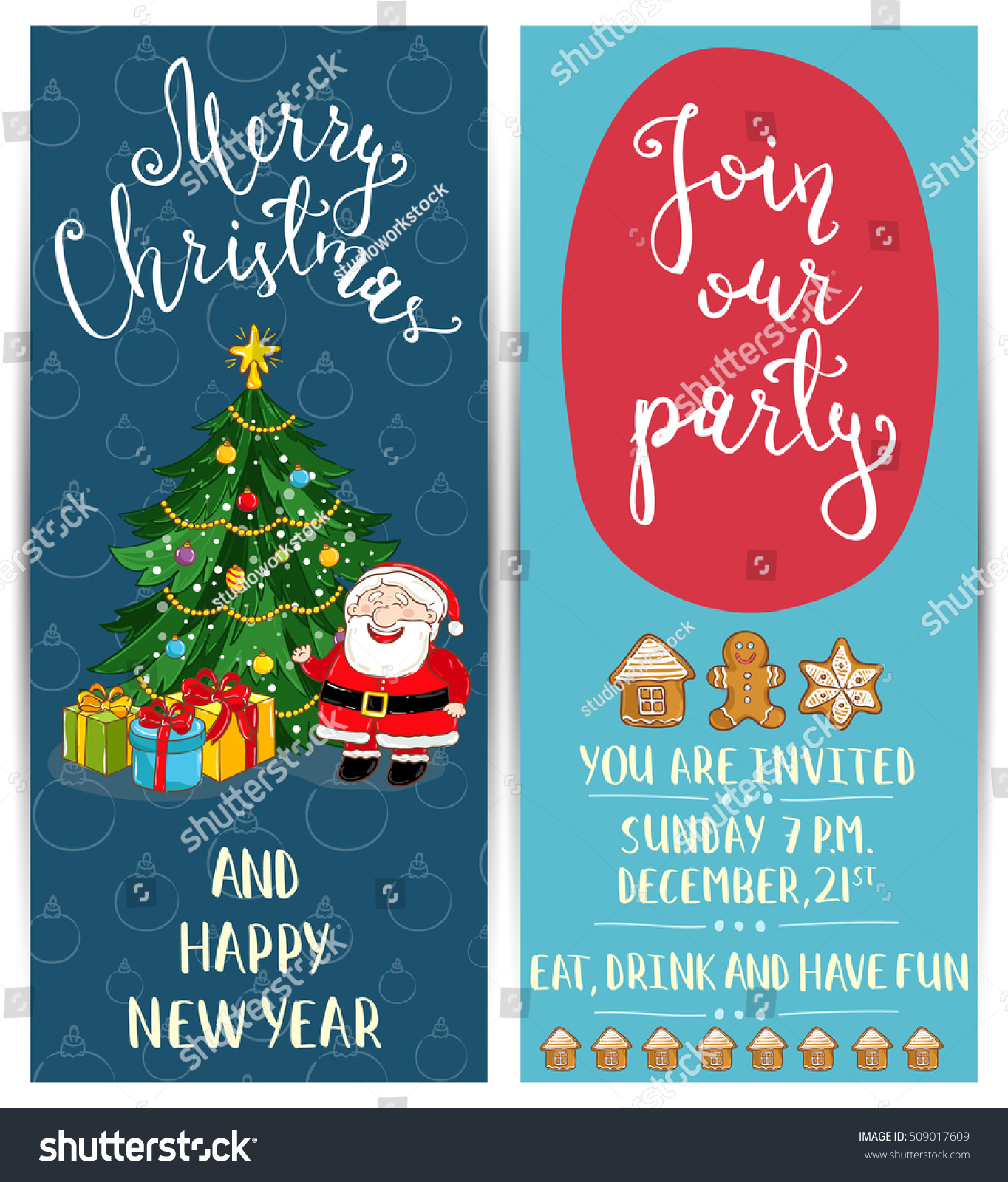 Merry Christmas and Happy New Year greetings card. Template of ...