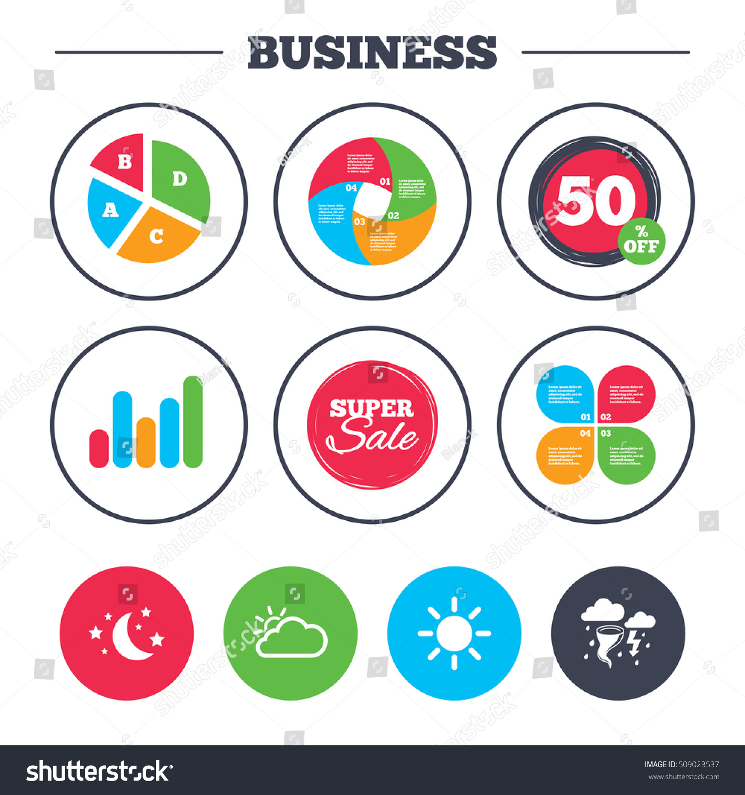 Business Pie Chart Growth Graph Weather Stock Vector Royalty Free