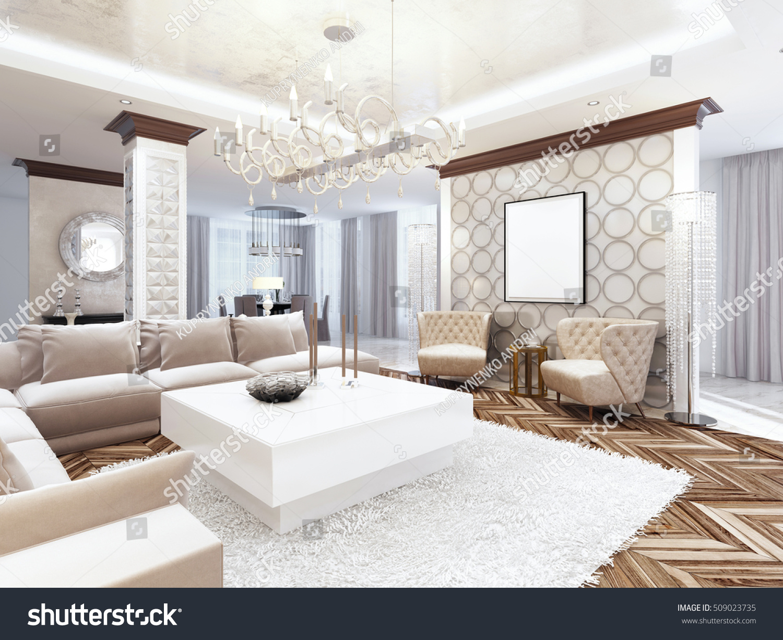 Luxurious Large Living Room Style Art Stock Illustration 509023735 ...