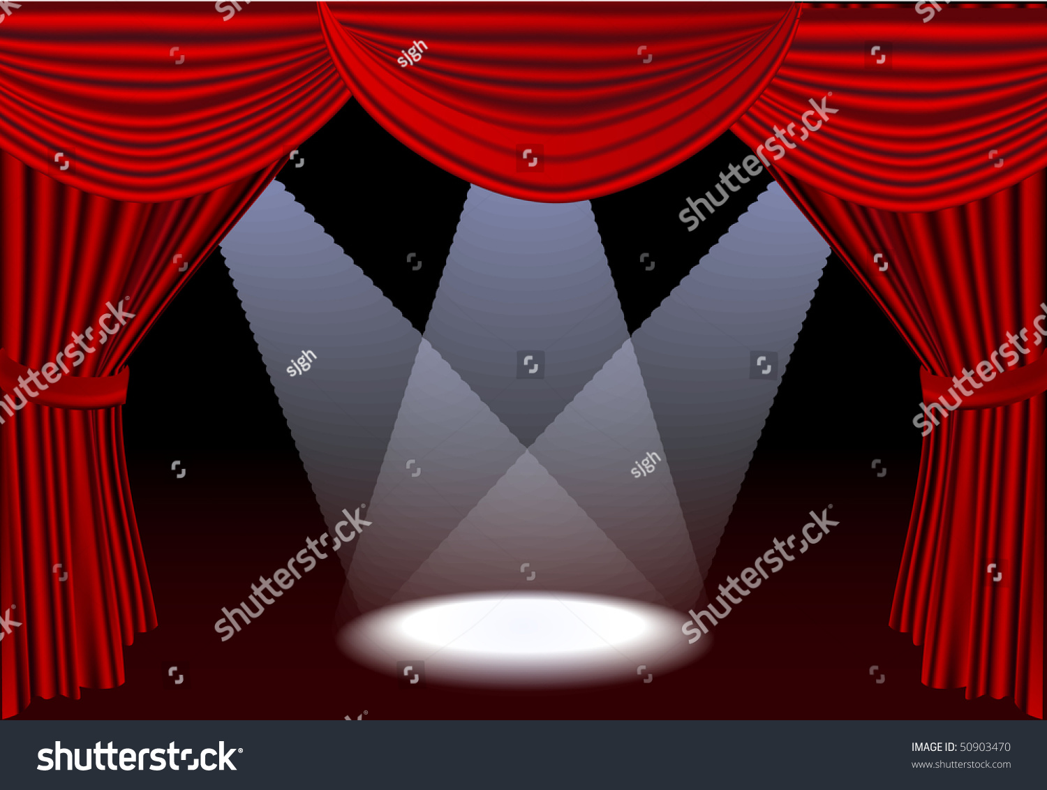 Red stage curtains open - Open Red Stage Curtains With Three Spotlights