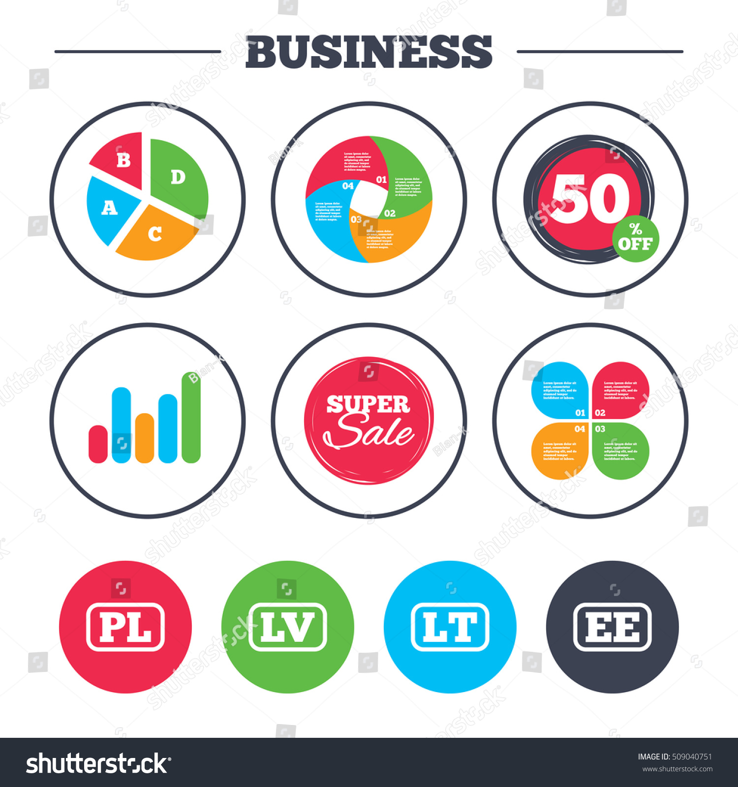 Business Pie Chart Growth Graph Language Stock Vector 509040751 ...