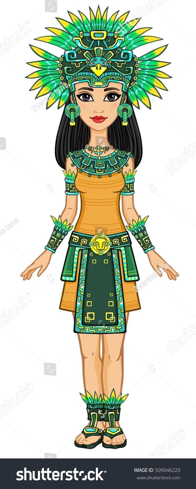 Animation Portrait Beautiful Girl Dress Native Stock Vector (Royalty