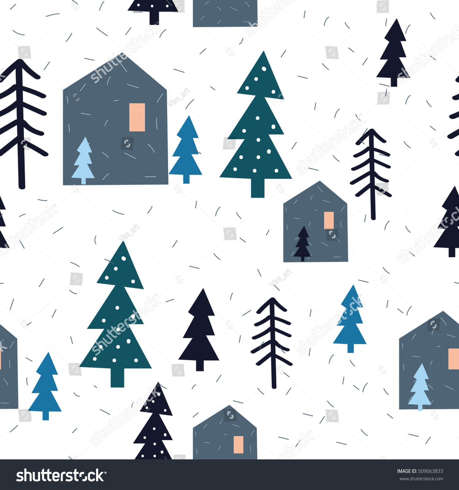 Seamless fir tree scandinavian pattern textile background wrapping - Stylish Seamless Pattern With Houses Christmas Trees And Snow On White Background Christmas Wrapping