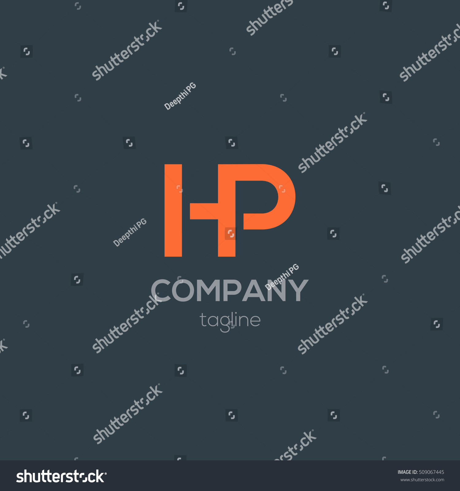 H p letter logo design template stock vector 509067445 for H and p template
