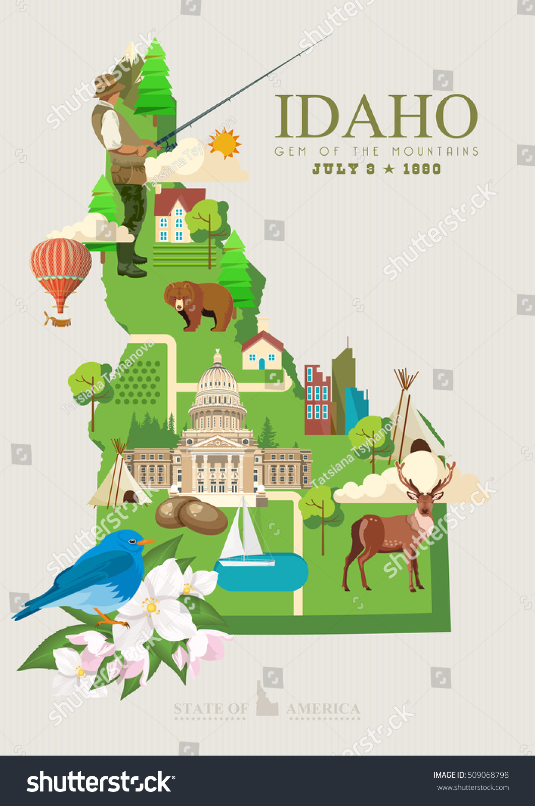Royalty Free Idaho Vector Poster United States Of 509068798 Stock
