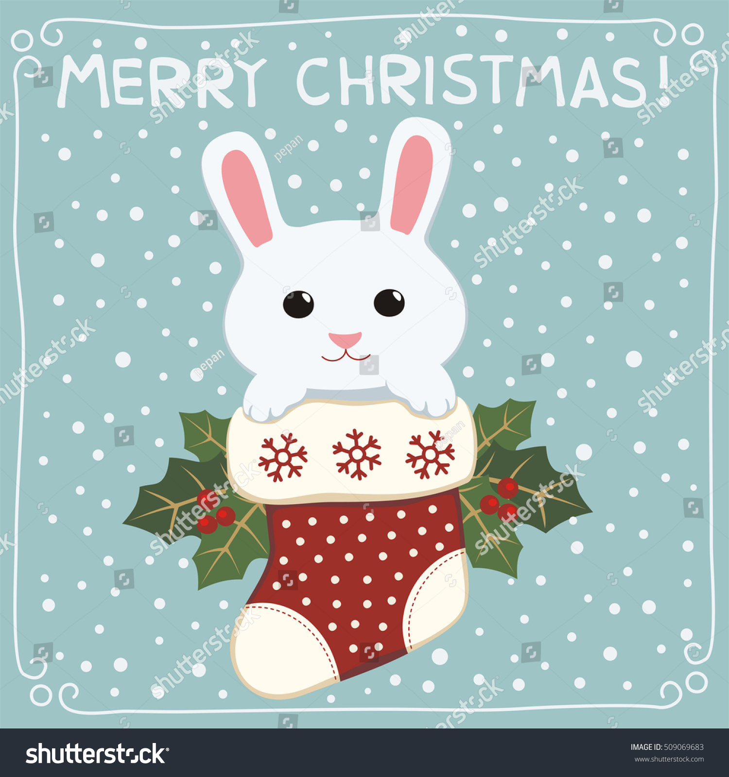 merry christmas cute bunny rabbit in stocking greeting card