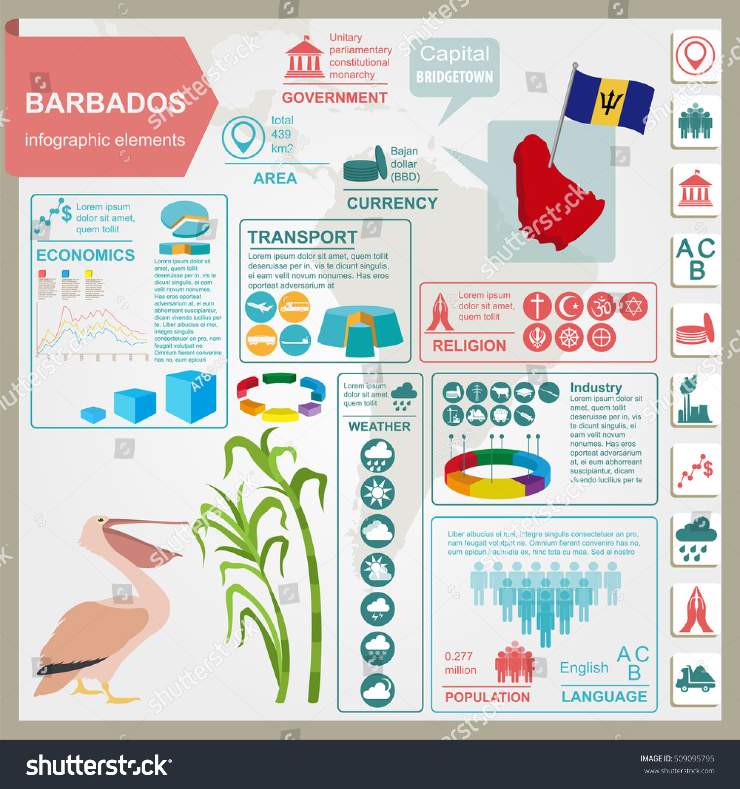Barbados Infographics Statistical Data Sights Pelican Stock Vector