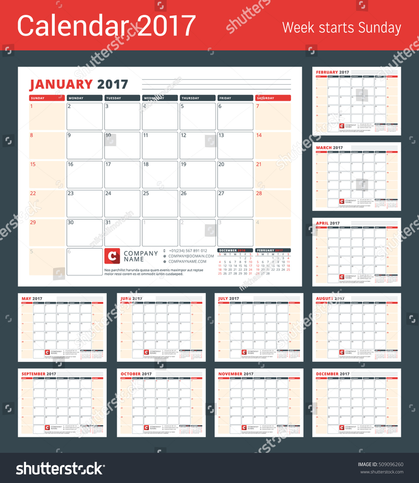 Year Calendar Starting : Calendar template year set stock vector