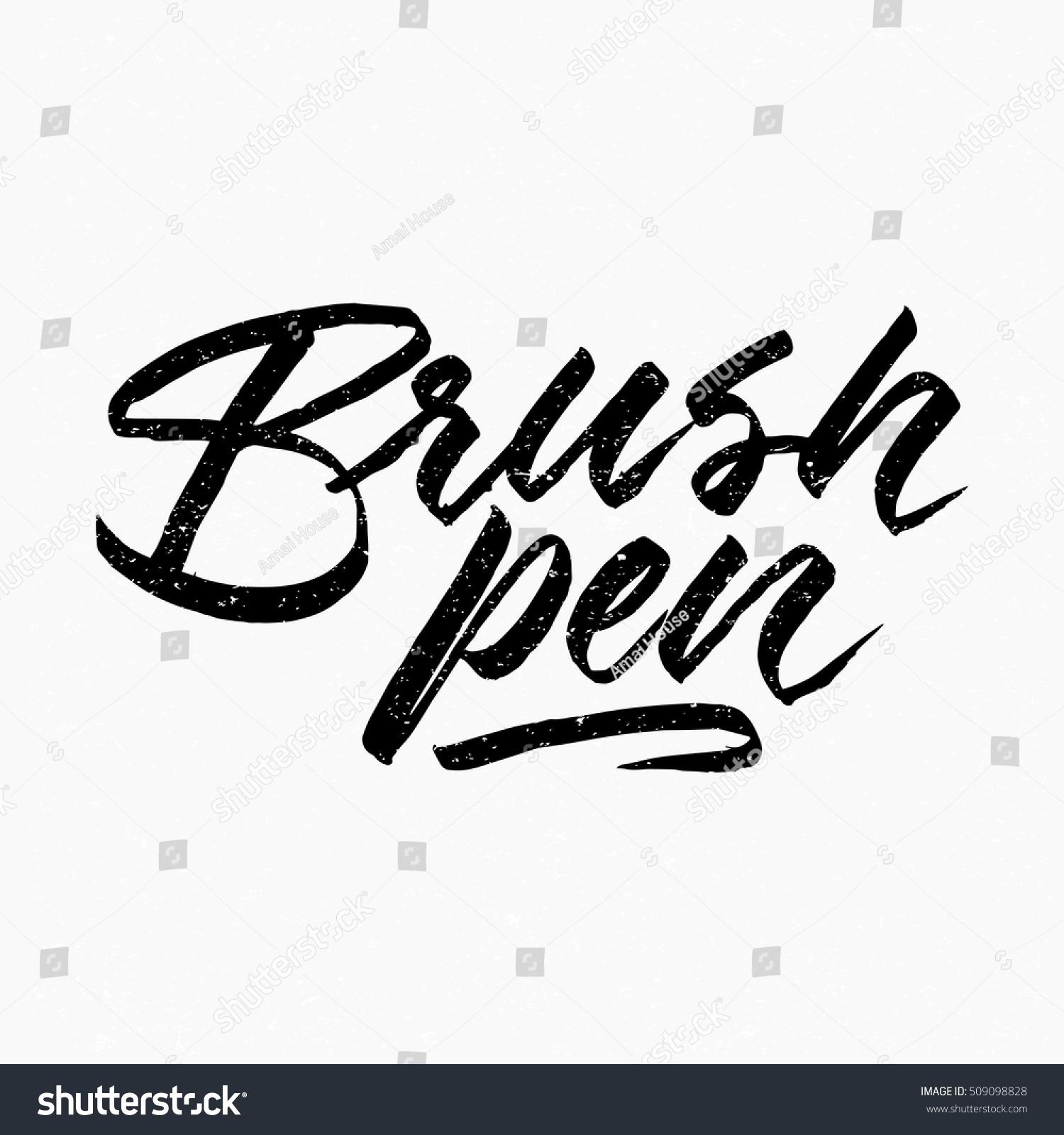 brush pen ink hand lettering modern stock vector royalty free