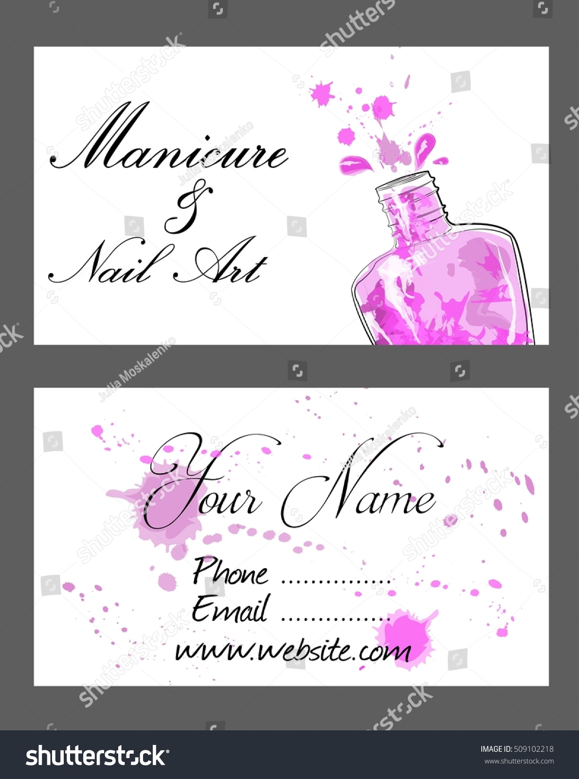 Set Business Cards Manicure Nail Art Stock Vector 509102218 ...