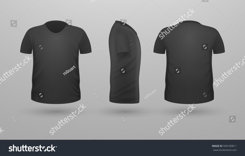 Black t shirt plain front and back - T Shirt Template Set Front Side Back View Black Color